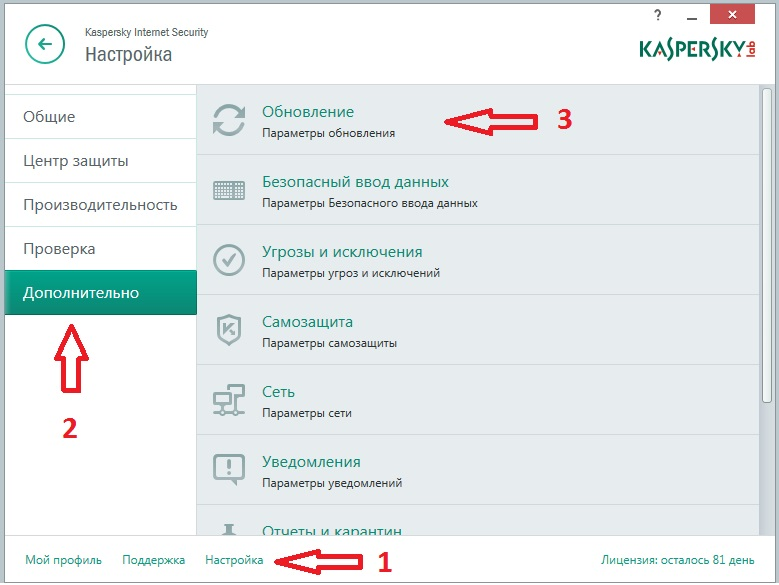 обновление   Kasperskiy Internet security 16.0